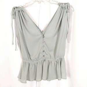 NWT SHE AND SKY BUTTON UP TIE SHOULDER FLOWY TOP